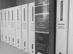 Tax books photograph in black and white