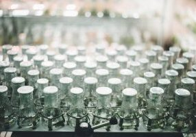 Bottles in a laboratory research